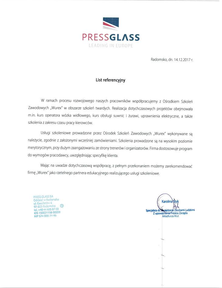 Referencje PRESS GLASS